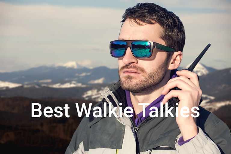 Man using walkie talkie outdoor