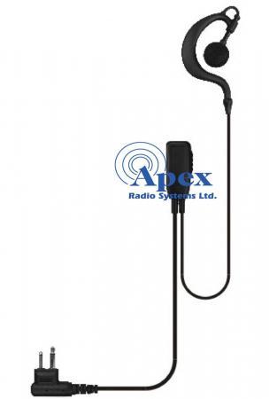 G Shape with Inline PTT & Lapel Mic - Motorola 2 Pin 446 Compatible with: XT420 / XT460 / XT660